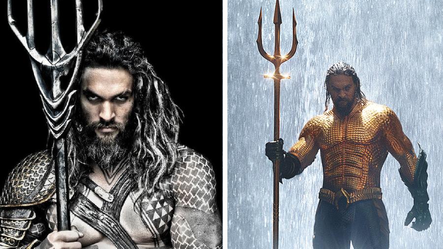 """As armas de Jason Momoa em """"Liga da Justiça"""" e em """"Aquaman"""" - Reprodução/Montagem"""