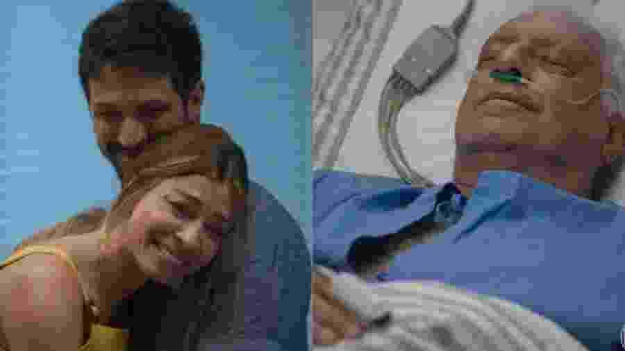 Inconsciente, Alberto sorri com visita de Paloma no hospital - reprodução/TV Globo