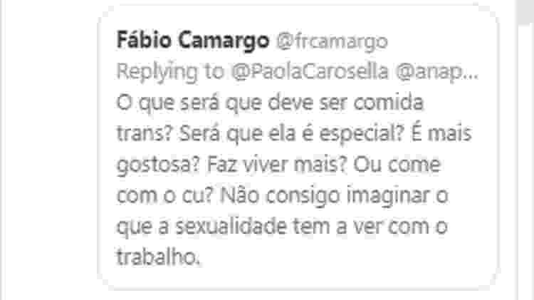 Internauta critica projeto que inclui transexuais e Paola Carosella responde - Reprodução/Twitter