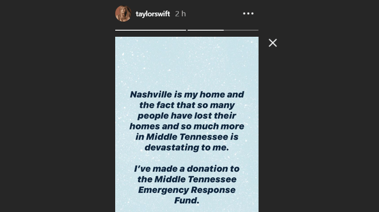 Taylor Swift makes a donation after a tornado-in-Nashville - Playback/Instagram