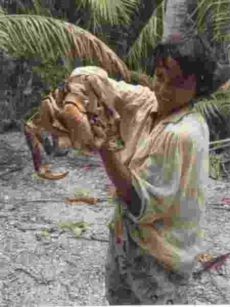 Anne pega um caranguejo gigante na ilha - Arquivo pessoal - Arquivo pessoal