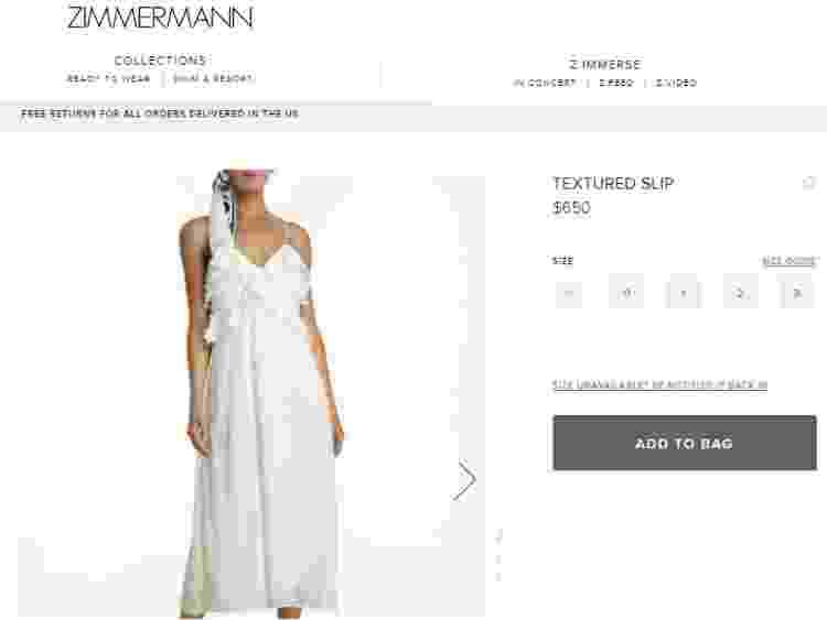Vestido de grife que Sasha usou para se casar - Reprodução/Zimmermann - Reprodução/Zimmermann