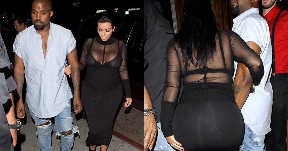 10.ago.2015 - Kim Kardashian atraiu os holofotes ao chegar no aniversário da irmã, Kylie, na noite de domingo