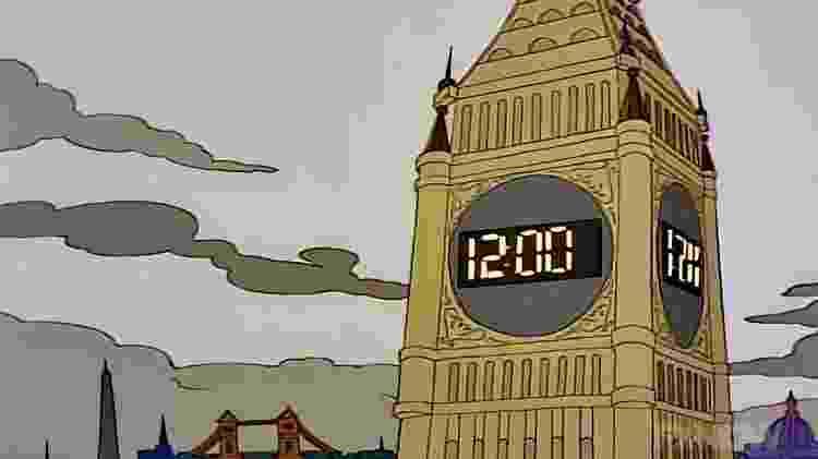 """Big Ben com display digital em """"Os Simpsons"""" - Reprodução - Reprodução"""