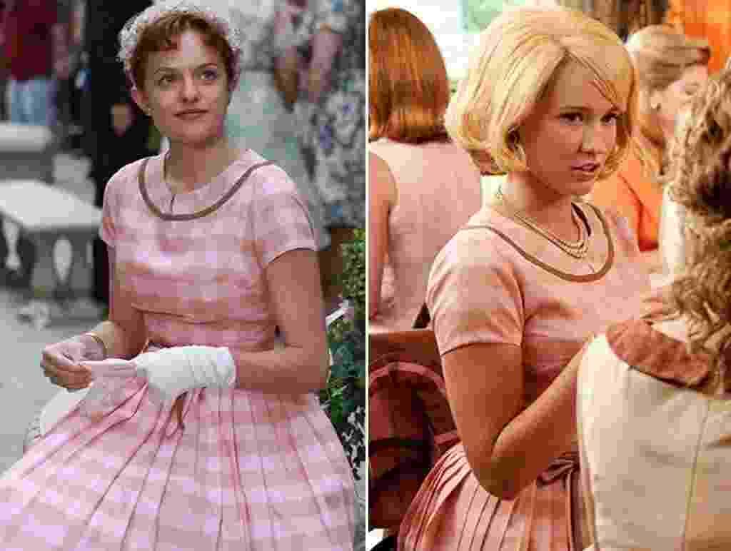 """À esquerda, Elisabeth Moss em """"Mad Men"""". À direita, Anna Camp em """"Histórias Cruzadas"""" (2011) - Reprodução"""