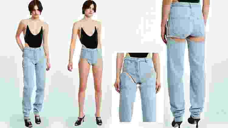 Y/Project lançou jeans com shortinho preso a um calça, que pode ser desamarrada. Em tabloides inglesas, peça foi vista como de gosto duvidoso - Divulgação - Divulgação