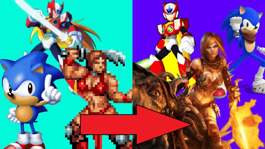 Games que se reinventaram - Montagem: Control Freak / Reprodução (Sega, Capcom)