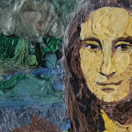 A Mona Lisa foi recriada por Eduardo Srur com sacolas plásticas - Arquivo pessoal