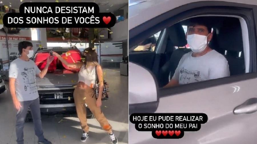Thais Braz presenteia o pai com um carro - Reprodução/Instagram