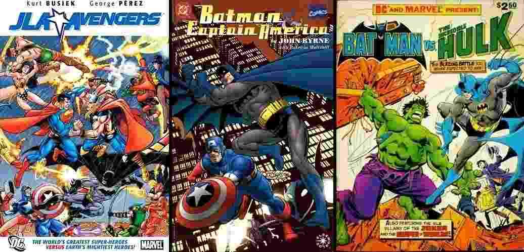 """Rivais nas bancas e no imaginário dos fãs, super-heróis das editoras se encontraram mais de uma vez nas HQs chamadas de """"crossovers"""". Veja uma seleção de 10 desses encontros. - Reprodução / Montagem"""