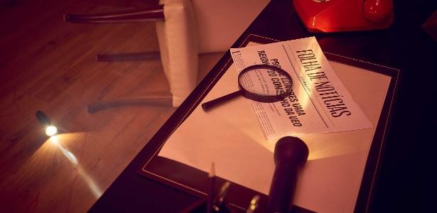 """Detalhe da sala """"Cena do Crime"""", do Escape Hotel, com temática de detetive"""