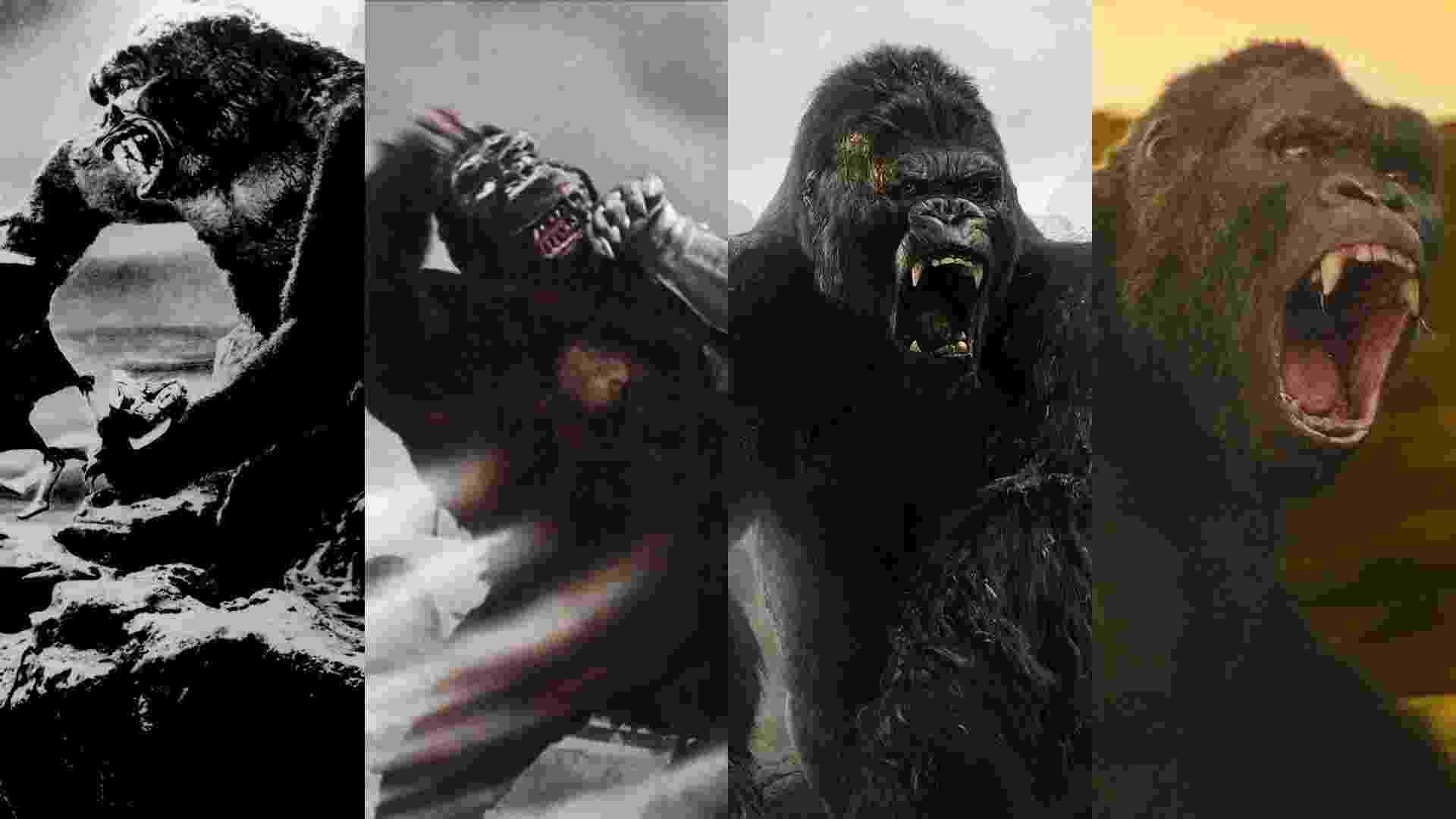 """Cenas de """"King Kong"""" (1933),  """"A Fuga de King Kong"""" (1967), """"King Kong"""" (2005) e """"Kong: A Ilha da Caveira"""" (2017) - Reprodução/Montagem"""