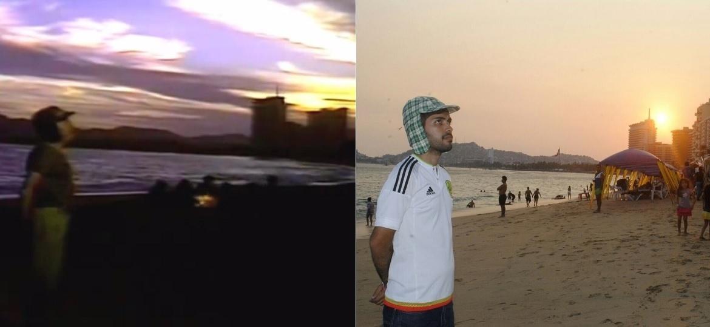 """A praia de Acapulco em que Chaves cantou """"Boa noite, vizinhança"""", em 1977 (à esquerda) e atualmente - Montagem/Reprodução/Jaiane Valentim/Arquivo pessoal"""