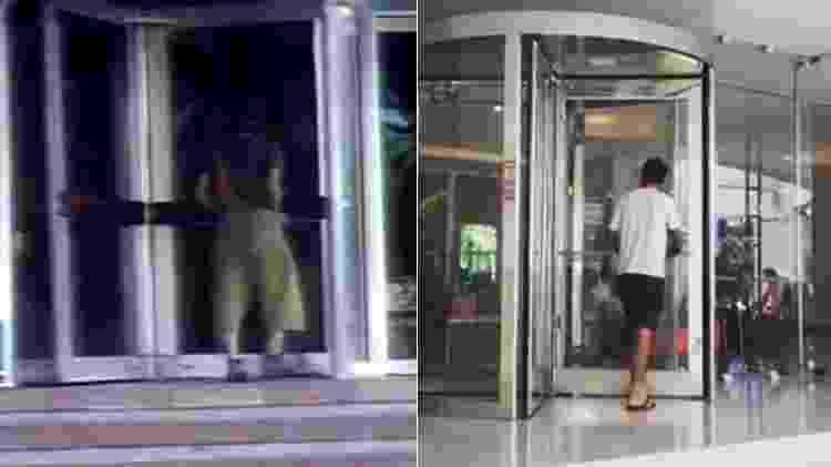 """Porta giratória do hotel em Acapulco onde foi gravado """"Chaves"""", em 1977 (à esquerda), e atualmente - Montagem/Reprodução/Arquivo pessoal - Montagem/Reprodução/Arquivo pessoal"""