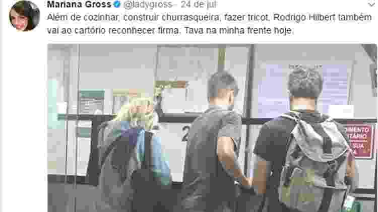 Jornalista da Globo Mariana Gross flagra Rodrigo Hilbert no cartório - Reprodução/Twitter - Reprodução/Twitter