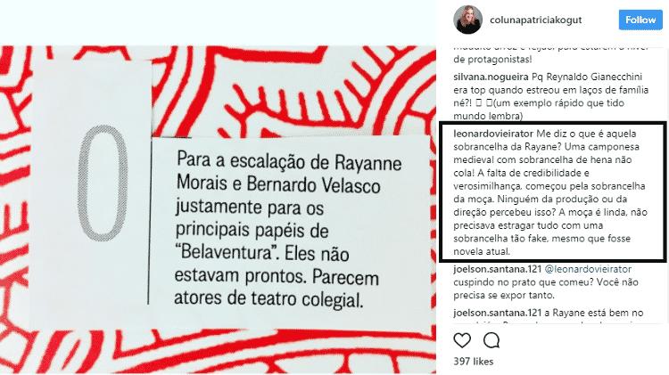 """Leonardo Vieira critica até """"sobrancelha fake"""" de protagonista de """"Belaventura"""" - Reprodução/Instagram/colunapatriciakogut - Reprodução/Instagram/colunapatriciakogut"""