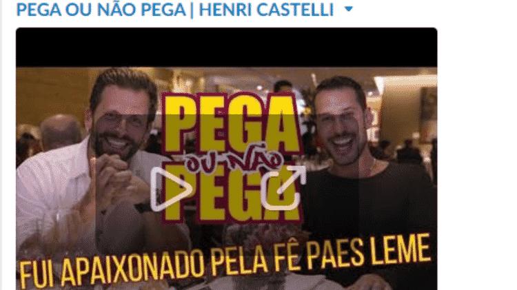 O vídeo com Henri Castelli quando ainda estava no ar... - Reprodução/YouTube - Reprodução/YouTube