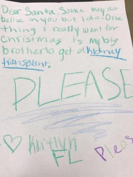A carta escrita pela garotinha foi deixada na loja em que Shelly Thomas trabalha - Reprodução/Facebook
