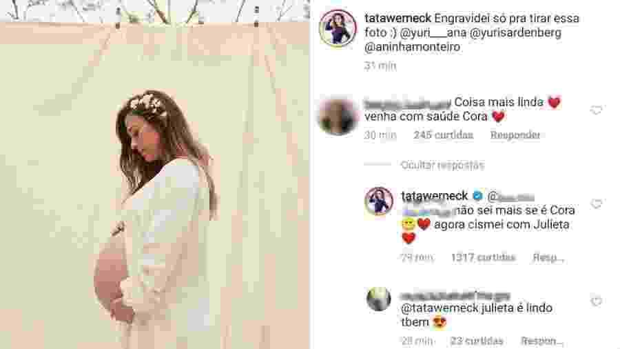 Tatá Werneck posta foto exibindo barrigão de 8 meses de gravidez e avisa seus seguidores que está em dúvida com o nome da filha - Reprodução/Instagram