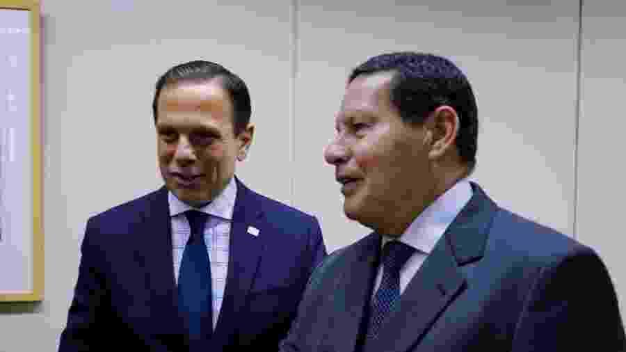O governador de São Paulo, João Doria (PSDB) e o vice-presidente da República, Antônio Hamilton Mourão (PRTB) - Governo de SP/Divulgação
