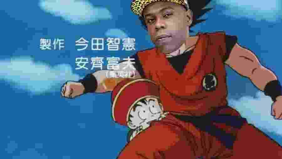 Montagem de Nego Bam no anime Dragon Ball - Divulgação