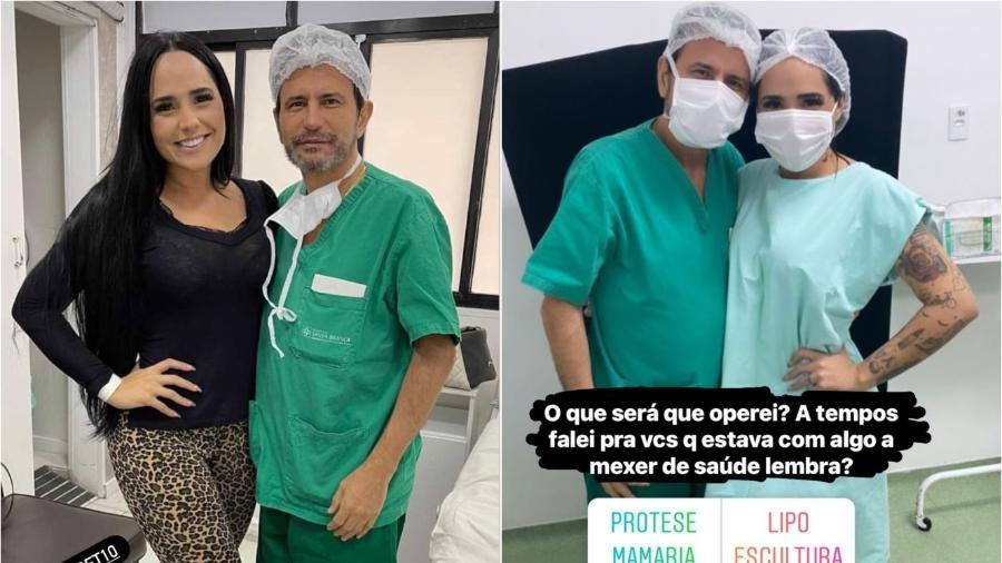 Perlla ao lado do médico que a operou pela quarta vez - Reprodução/Instagram@perlla