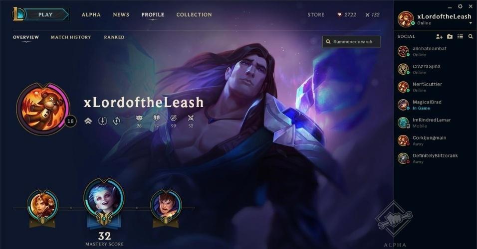 A página do perfil do jogador é um resumo da sua carreira em