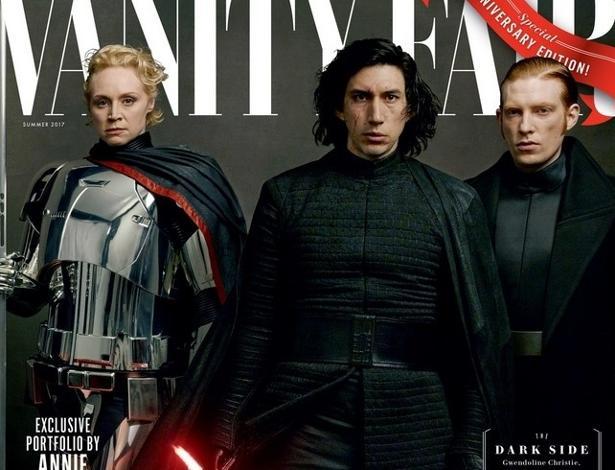 O lado negro: Capitã Phasma (Gwendoline Christie), Kylo Ren (Adam Driver) e General Hux (Domhall Gleeson)