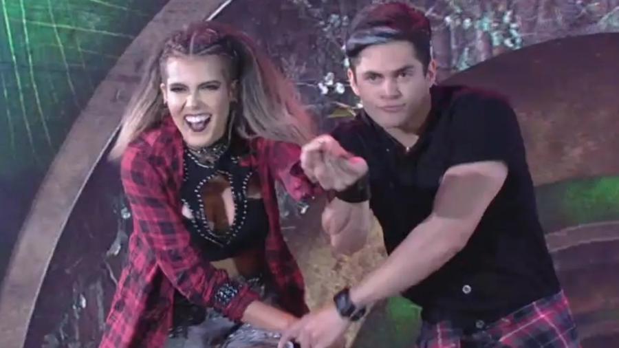 """Lucas Veloso e sua professora, Nathália Melo, dançam Titãs na """"Dança dos Famosos"""" - Reprodução/TV Globo"""