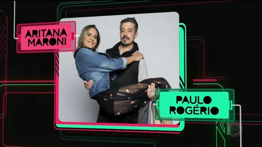 """A ex-""""MasterChef"""" e ex-""""A Fazenda"""" Aritana Maroni e o marido, o gerente admnistrativo Paulo Rogério - Reprodução/Record"""