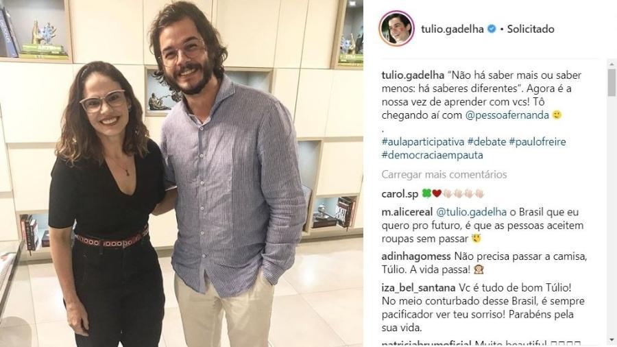 Túlio Gadêlha, namorado de Fátima Bernardes, gera debate na internet por causa de camisa amassada - Reprodução/Instagram/@tulio.gadelha