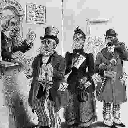 Uma caricatura de 1895 mostra milionários como Hetty Green (ao centro) sofrendo ao pagar impostos para o Tio Sam - GETTY IMAGES