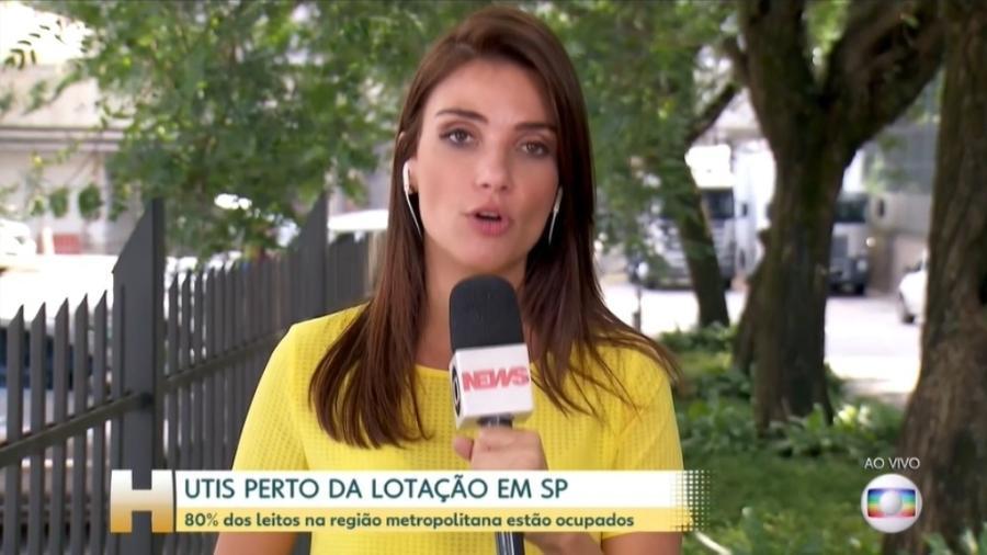 A repórter Sabina Simonato apresenta reportagem no Jornal Hoje sobre UTIs lotadas em São Paulo - Reprodução