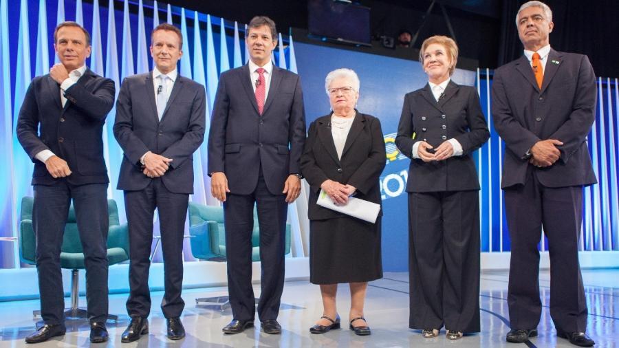 Em 2016, no primeiro turno, a Globo realizou debate com seis candidatos: Doria, Russomanno, Haddad, Erundina, Marta e Major Olímpio  - Daniel Teixeira/Estadão Conteúdo