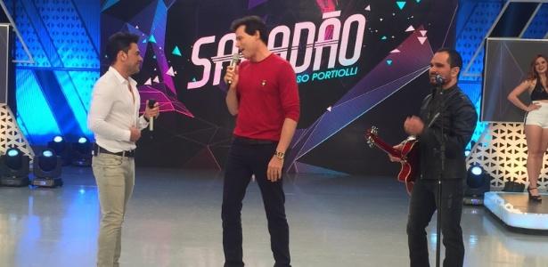 """Celso Portiolli recebe Zezé Di Camargo e Luciano em seu programa """"Sabadão"""""""