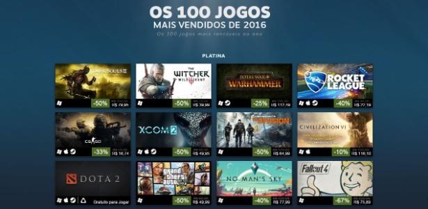 """Steam não divulga colocações, mas separa os games por categorias; a """"Platina"""" engloba os 12 jogos que mais faturaram em 2016"""