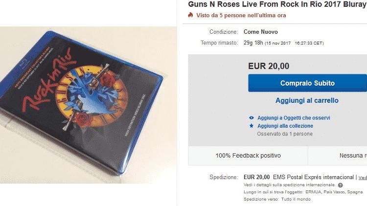 Internauta vende Blu-ray do show do Guns N´ Roses no Rock in Rio 2017 - Reprodução/eBay - Reprodução/eBay
