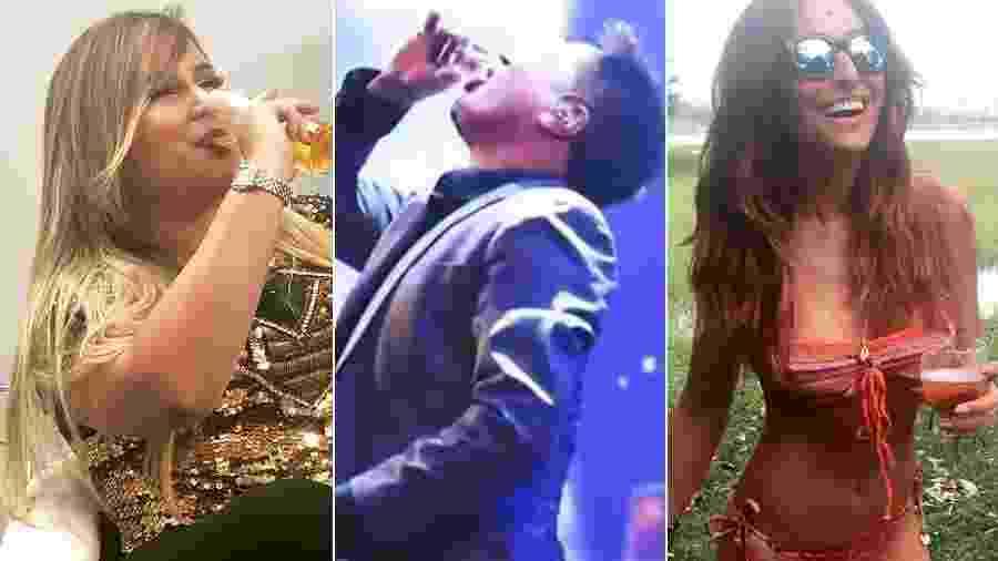 Marília Mendonça, Leonardo e Sabrina Sato não abrem mão da cerveja - Montagem/UOL/Reprodução/Instagram