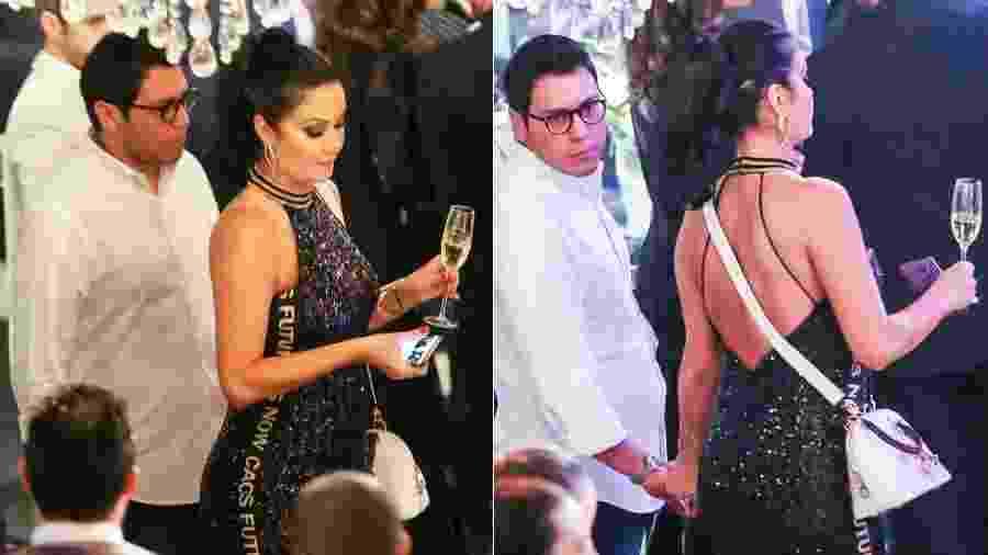 Helen Ganzarolli com o namorado na festa da filha de Celso Portiolli - Manuela Scarpa/Brazil News