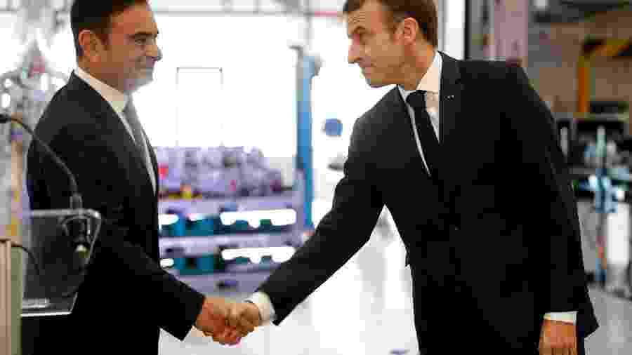 Carlos Ghosn e Emmanuel Macron - Yoshikazu Tsuno/AFP