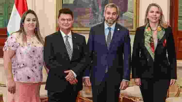 Registro do encontro do empresário com presidente paraguaio Mario Abdó - Reprodução/Twitter