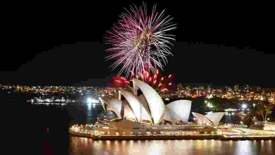 Fogos de artifício na Sydney Opera House - Getty Images