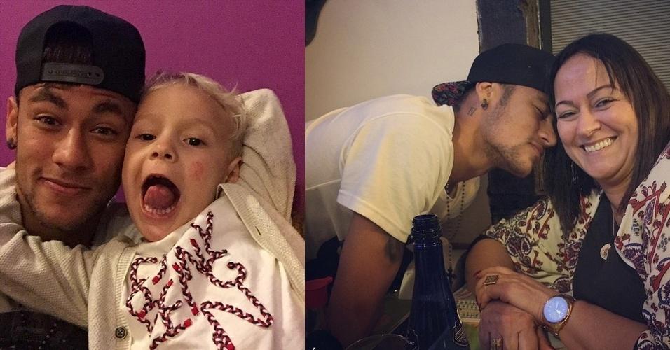 22.jun.2015 - O jogador de futebol Neymar Jr. aproveitou as férias forçadas -- ele foi suspenso da Copa América -- para passar alguns dias no Brasil e mimar o filho, Davi Lucca, e a própria mãe, Nadine. Ele compartilhou duas imagens na noite desta segunda-feira. Na que aparece ao lado do filho, ele escreveu na legenda: