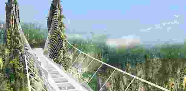 Projeção da ponte chinesa, que estará a 300 metros de altura - Divulgação/Haim Dotan Architects & Urban Designers