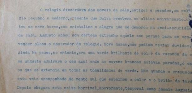 Trecho da primeira página de livro inacabado do escritor baiano  - Acervo Pessoal