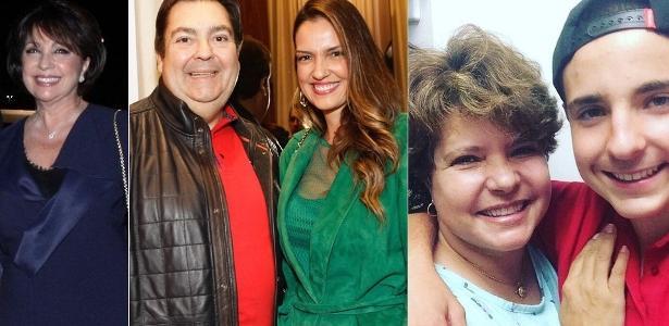 Montagem com Tony Ramos ao lado da mulher, Lidiane Barbosa, Faustão com Luciana Cardoso e Rose Miriam abraçando João Augusto, filho dela com Gugu