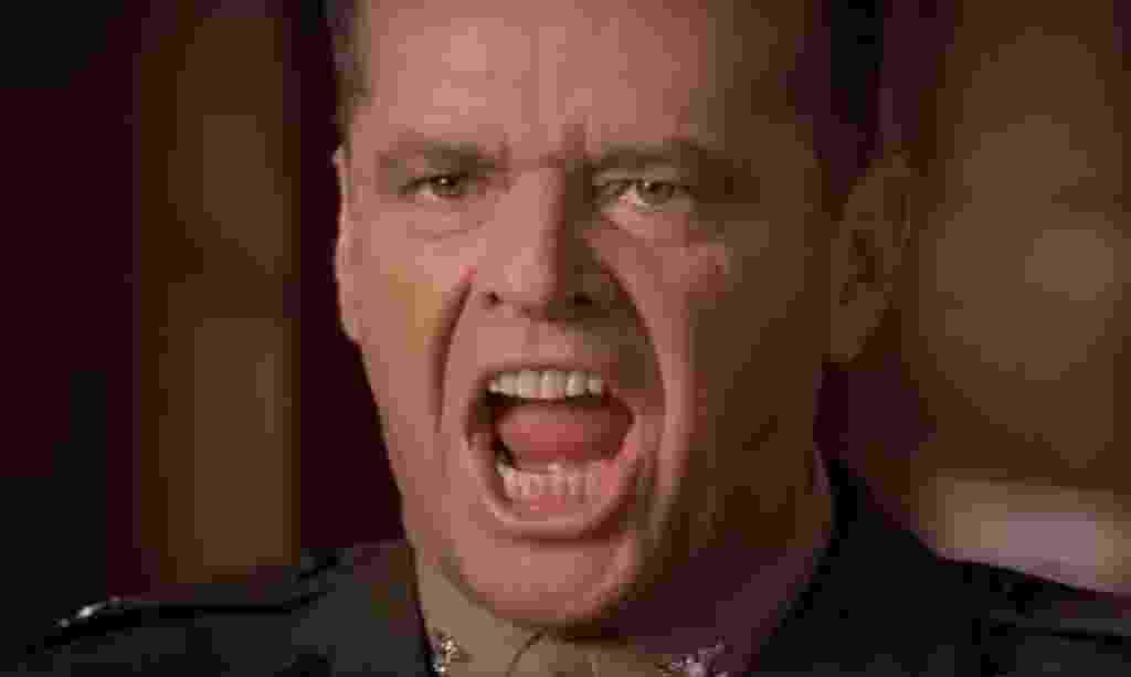 """Jack Nicholson em cena de """"Questão de Honra"""" (1992) - Divulgação"""
