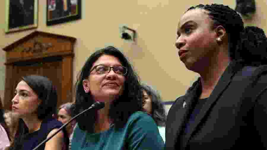 Alexandria Ocasio-Cortez, Rashida Tlaib e Ayanna S. Pressley participam de audiência sobre política de separação de crianças da administração Trump - Win McNamee/Getty Images/AFP
