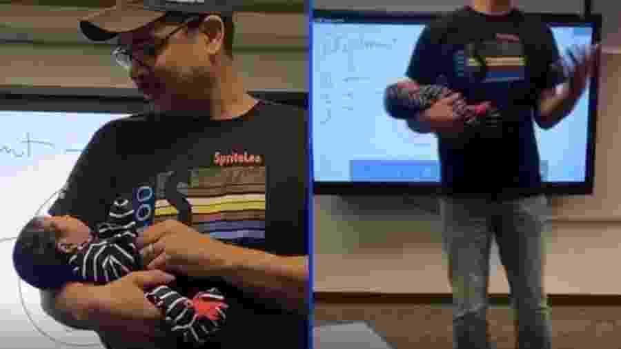 Professor segura bebê durante palestra para mãe fazer anotações - Reprodução/FOX News/CNN
