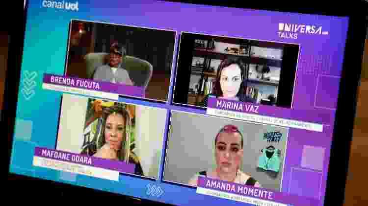 Brenda Fucuta conversa com as empreendedoras Mafoane Odara, Marina Vaz e Amanda Momente no Universa Talks Empreendedorismo 2021 - Mariana Pekin/UOL - Mariana Pekin/UOL